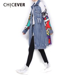 Wholesale Graffiti Rip - Wholesale- [CHICEVER] 2017 Spring Back Graffiti Patchwork Long Denim Jacket Ripped Pockets Women Basic Coats New Fashion Clothing