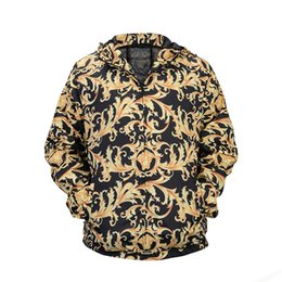 Wholesale Paisley Hoodie - 2018 Men Black Casual Jacket 3D Paisley Print Hooded Zip Jacket Hoodie Fashion Outdoor Sport Shell Jackets Spring Autumn Trench Coat