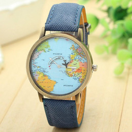 Wholesale Map Watches - Top Brand Watch For Men Global Travel By Plane Map Dial Wrist Watches Mens Vintage Denim Leather Analog Quartz Watch Reloj #S