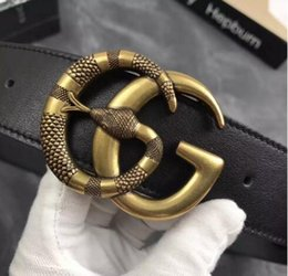 Wholesale Branded Designer Belt For Men - Hot Designer Snake buckle brand Belts High Quality Famous Brand Luxury Belt For Men And Women Genuine Leather Belt for gift