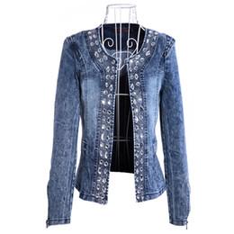 Wholesale Diamond Denim Jacket - Wholesale- LinsDenim Jacket Coat Women Denim Big Size Top Jacket With Rhinestone Sequins O-neck Denim Female Basic Jackets