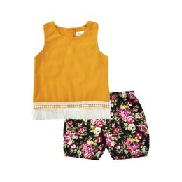 Wholesale Wholesale Baby Swings - Baby Clothing Set Yellow Tassel Swing Girls Tees Summer Toddler Outfit Sleeve Girls Top Floral Short 2pcs Girls Clothes