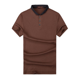 Wholesale Stand Up Men Shirt - Wholesale- New men's T-shirt Summer fashion male stand-up collar Slim solid color short sleeve knit t-shirt Trend of casual men's shirt