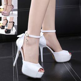 12,5 centimetri dolce bianco bowtie piattaforma tacco alto peep toe pompe da sposa scarpe nere rosa pallido taglia 34 a 39 da matrimonio rosa pallido fornitori
