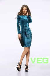 Wholesale Korea Woman Sexy Hot - Hot style in South Korea velvet sleeves pleuche package hip cultivate one's morality dress Free shipping
