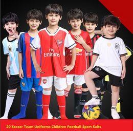 Wholesale Wholesale Kids Football Jerseys - great football team children soccer uniform football training jersey suit 2 piece set for kids age 2-15 height 95-165cm