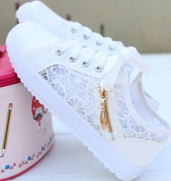 Wholesale Hollow Lace Shoes - 2017 summer hollow out breathable mesh canvas shoes female low help lace-up casual shoes