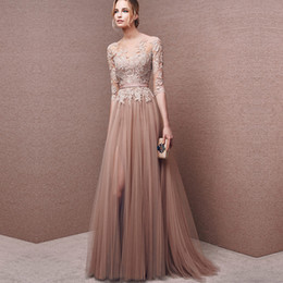 Wholesale Laced Nude Bridesmaid Dresses - High quality Nude color Evening dresses long dress maid of wedding cheap bridesmaid gowns with half sleeve free shipping