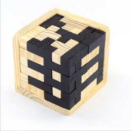 Wholesale Wholesale 3d Wood Puzzles - Wholesale- 6.8cm Educational Wood Puzzles For Adults Kids Brain Teaser 3D Russia Ming Luban Educational Kid Toy Children Gift Kid's Toy