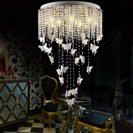 Wholesale Remote Control Butterflies - Modern LED Crystal Ceiling Lamp Lights Princess Angel Butterfly Chandelier Pendant Lights For Living Room Bedroom Children's Room