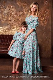 Wholesale Mommy Daughter Dresses - Mother daughter dresses Vintage 2017 Floral dress print Half Sleeve Family Matching Outfits mommy and me Ankle-length dress