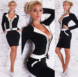 Wholesale Short Skirt Dress For Work - Black And White Splicing Party Dress Fall Fashion Long Dresses Pack Hip Short Skirt For Women 211