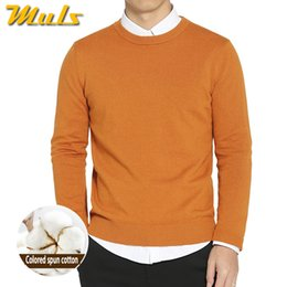 Wholesale Yellow Colored Computer - Wholesale- Top dyed Yarn 100% Cotton sweaters for men spring autumn O neck male sweaters pullover 2017 new arrival mens knitwear MS1731