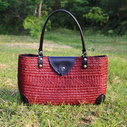 Wholesale Beach Bags Natural - 2017 new holiday beach package Thai version with pure natural seaweed bag fashion shoulder bag fashion hand-rattan straw bag