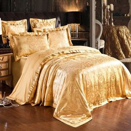bedclothes satin cotton Promo Codes - Wholesale- Gold Jacquard Silk quilt duvet cover king queen 4pcs Embroidered Satin bedclothes bedding set bed sheet cotton home textile