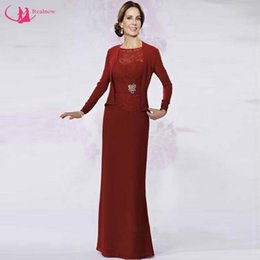 Wholesale Bride Mum - Hot Selling Mother Dress With Jacket Long Sleeve Formal Design Applique Mum of the Bride Dresses Good Quality
