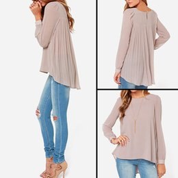 Wholesale shirt folding - New Women Casual Basic Casual Summer Autumn Chiffon Blouse Top Shirt Fold Dovetail blusas Loose Full sleeve Plus Size