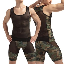 Wholesale Camouflage Sexy Underwear - Camouflage sexy men's underwear breathable mesh slim man suit pajamas transparent night shop must have 441.