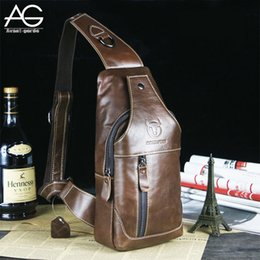 Wholesale Genuine Leather Bolsos - Wholesale-2016 New Arrival Fashion Genuine Leather Chest Pack Brand Design Casual Men Messenger Bags Vintage Small Shoulder Bags bolsos