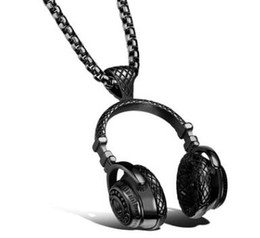 Wholesale Roll Slide - The European and American fashion rock and roll style Titanium steel headphones pendant Stainless steel man necklace to send her boyfriend