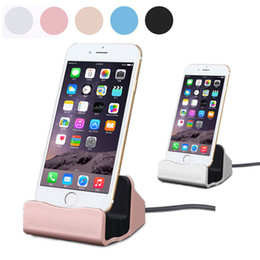 Wholesale Desktop Charger Iphone Dock - High Speed Sync Data Charging Dock Station Mobile phone Desktop Docking Charger USB Cable For iPhone 5 5S 5C SE 6s 6 Plus 7 Android device