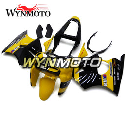 Wholesale Yellow Zx6r Fairing - Yellow Black Fairings For Kawasaki ZX6R 2000 - 2002 ABS Plastics Injection Hulls Motorcycle Fairing Kit Bodywork Body Kit Body Frames
