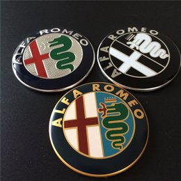 Wholesale Logo Stickers Wholesale - High Quality 100pcs 74mm Gold Black White New Giulia Style Car Logo Emblem Badge Sticker for ALFA ROMEO Mito147 156 159 166 Giulietta
