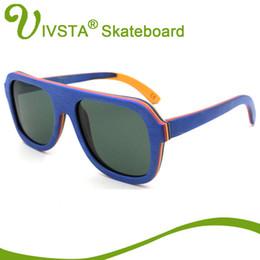 Wholesale Skateboard Wood Sunglasses - Wholesale- IVSTA Real Pilot Wood Sunglasses Skateboard Glasses Men Aviator Eyeglasses Wooden Eyewear Spectacle Frames Polarized Handmade