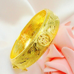 Wholesale Gold Phoenix Dragon Bangle - Top quality 24k Gold-plated Dragon and phoenix double xi word Bangle for women bride wedding gift