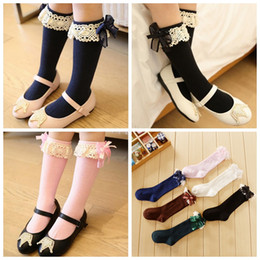 Wholesale Children Lace Socks - Baby Kids Socks Girl Children Cute Princess Solid Color Lace Bow silk decorate Girls Knee High Long Socks baby fall winter