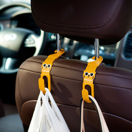 Wholesale Cloths Hanger Clips - Wholesale- 2Pcs Cartoon Car Back Seat Headrest Hanger Holder Hooks For Bag Purse Cloth Grocer Auto Fastener Car Back Seat Clip Clasp