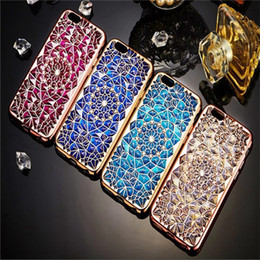 Wholesale Diamond Cell Phone Cases - For iPhone 6s Plus 7 Phone Cover Luxury Diamond Glitter Cases Soft TPU Electroplate Cell Phone Cases