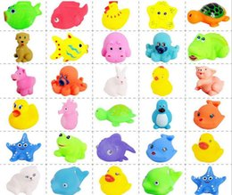 Wholesale Bath Two - Baby Bath Toys Water Floating Dolls Animal Cartoon Yellow Ducks Starfish Children Swiming Beach Rubber Toy Kids Gifts fast shipping