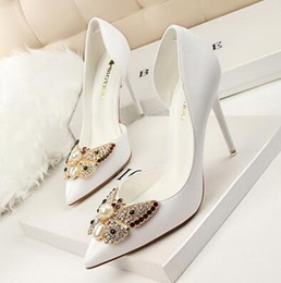 Wholesale Diamond Pearl Wedding Shoes - 2016 Spring summer Autumn Korean side pointed hollow pearl diamond bow was thin fine with shallow mouth single shoes women high heels