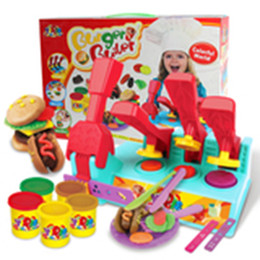 Wholesale Free Big Cook - Color Clay Dough set Funny Children Cooking Hamburger Master Free Tools and Accesseries For Kid the best gift for children