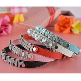 Wholesale Wholesale Pu Leather Dog Collars - (50 Pieces lot) Hot Sale Brand High Quanlity Pure Pu Leather 10MM Personalized Pet Cat Dog Collar