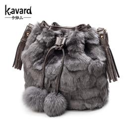 Wholesale Leopard String Blue - Wholesale- Kavard famous brand Spanish faux fur bucket bag 2016 luxury handbags women bags designer sac a main femme de marque Leopard BAGS