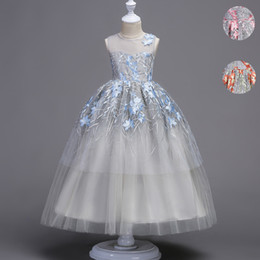 Wholesale Straight Wedding Gowns - Flower Girls Dress Baby Kids Princess Formal Birthday Pageant Holiday Wedding Bridesmaid Ball Gown Embroidery Teenager Children Clothes