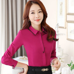Wholesale Korean Formal Woman Shirt - Korean Style Women Blouses Fashion 2017 New Autumn Long Sleeve Beautiful Contrast Colors Chiffon Ladies Office Shirt Tops Formal