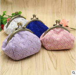Wholesale Necklace Wallets - Good Quality Weaving Mini Wallet Bohemian Style Coin Purses 12CM Hasp Cotton Wallets Single Color Shell Bags Necklace Earrings Case