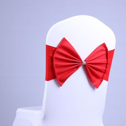 Wholesale satin bows for chairs - Hot Spandex Lycra Chair Sashes Elastic Satin Chair Bands with Buckle for Wedding Bow Tie Backs Props Bowknot Chair Cover Sashes