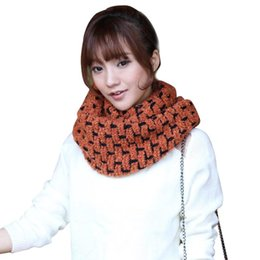 Wholesale Scarf Ring Cashmere Knit - Wholesale- Fashion Winter Women Knitted Cashmere Plaid Scarf Women Shawl Wrap Winter Warm Collar Neck Warmer Ring Scarf 2015 New Brand