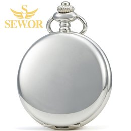 Wholesale Manual Pocket Watch - 2017 SEWOR Silver Classical Manual Mechanical Men's Pocket Watch C249