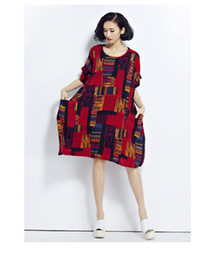 Wholesale Linen Clothing For Women - 2017 Plus Size Floral Print Dresses Summer Cotton and Linen Plaid Dress Clothes for Pregnant Women Fit 50~90KG