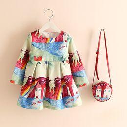 Wholesale Boat Handbag - Printing Dress with Purse robe fille Mit Handbag Boutique Girls Dresses for Party 2017 Autumn vestido infantil