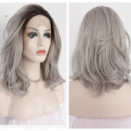 Wholesale Wig Gray Short - Ombre Grey Short Natural Curly Synthetic Lace Front Wig 12inch-16inch women Wigs black root 1b# Gray