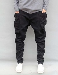 Wholesale Mens Trouser Pocket Jeans - Wholesale-Autumn Winter Trousers Big Size S-6XL 7XL=46 New Fashion Casual Jeans Mens Joggers Loose Denim Pants Pockets Hip Hop Harem Black