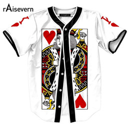 heart shirt designs Coupons - Wholesale- New Funny Pokers Design Mens Shirts The King Of Hearts Print Short Sleeve Baseball Shirts Harajuku Men Women Hip Hop Shirts Tops