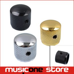 Wholesale Dome Metal Button - Wholesale- Metal Dome Tone Tunning Knob with Hexagon Screws Lock Volume Control Buttons for Electric Guitar Bass Black Chrome Gold