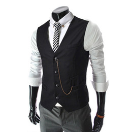 Wholesale mens vest wholesale - Wholesale- 2017 Spring Mens Casual Slim Fit Vest Men Fashion Waistcoat Sleeveless Suit Jacket Coat Gilet Chaleco Hombre AQ80007